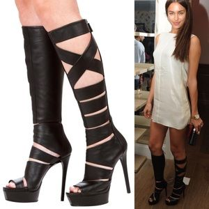 GUCCI Helena Black Leather Cut Out Knee-high Boots